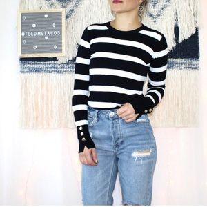Zara Knit Blue & White Striped Crew Neck Sweater